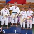 1.místo kata žákyně - Dominika Šabová - mistryně ČR, 3.místo - Michaela Schmiedová (vpravo)